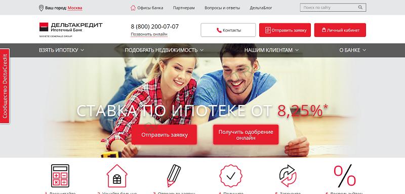 Восстановление пароля личного кабинета банка Дельтакредит