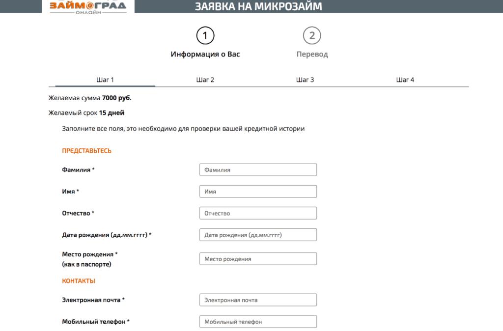 Оформление заявки на сайт Займоград