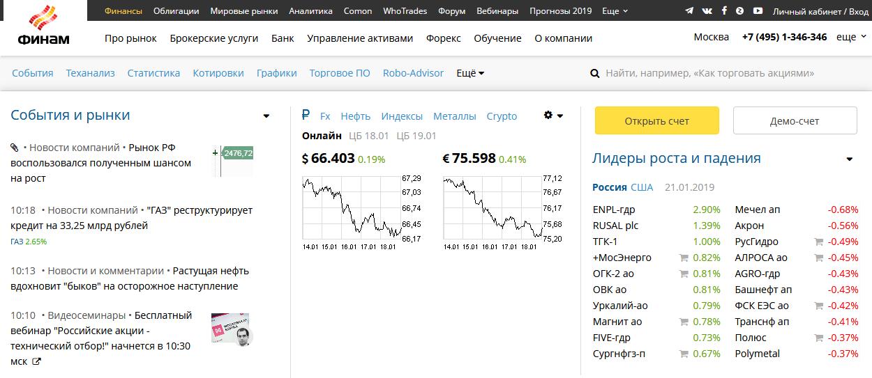 Главная страница официального сайта Финам Банка