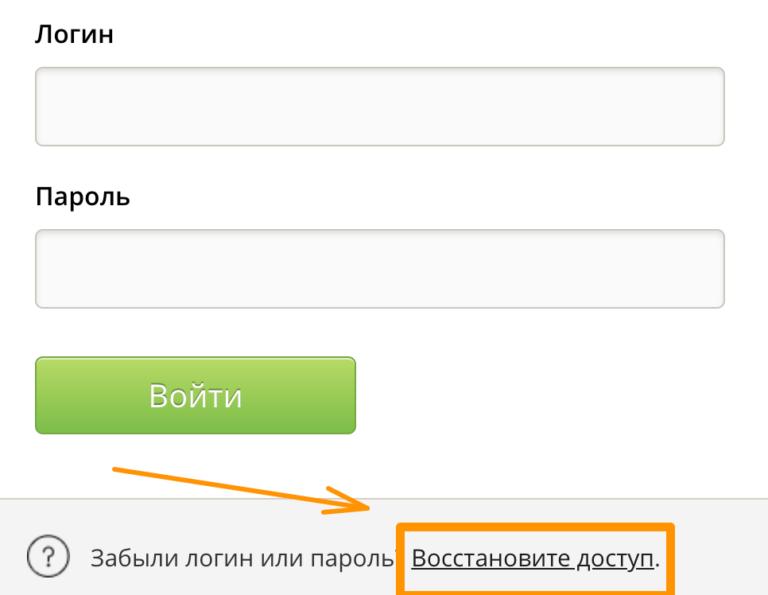Восстановление пароля от личного кабинета Дневник ру