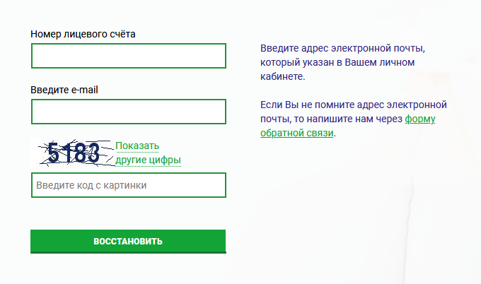 Восстановление пароля от личного кабинета ТНС Энерго Великий Новгород