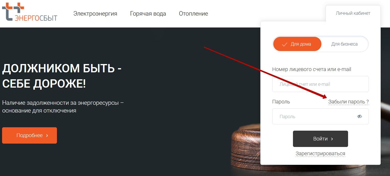 Восстановление пароля от личного кабинета Свердловэнергосбыт